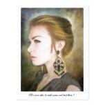 Belleza clásica del arte de la pintura del retrato postal