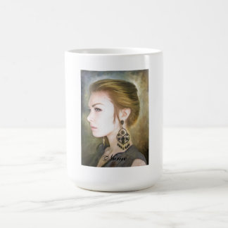 Belleza clásica del arte de la pintura del retrato taza de café