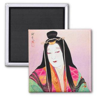 Belleza clásica japonesa oriental fresca de la muj imanes para frigoríficos