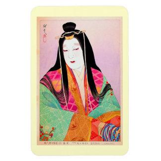 Belleza clásica japonesa oriental fresca de la muj iman flexible