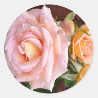 Belleza color de rosa pegatina redonda