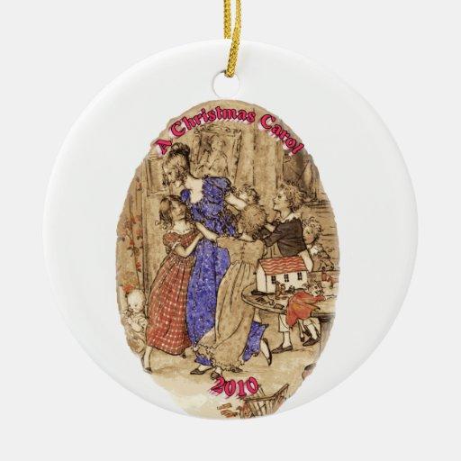 Belleza con su cría de los niños 2010 ornamentos de navidad