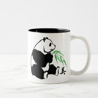 Belleza de la panda taza de café de dos colores