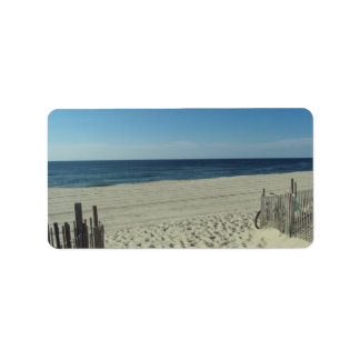 Belleza de la playa etiqueta de dirección