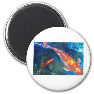 Belleza de los pescados de Koi Imán Redondo 5 Cm