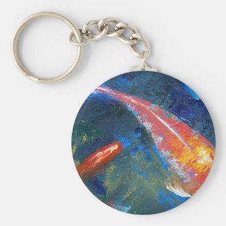 Belleza de los pescados de Koi Llavero Redondo Tipo Pin