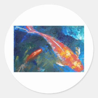 Belleza de los pescados de Koi Pegatina Redonda