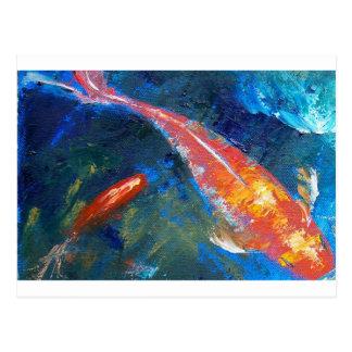 Belleza de los pescados de Koi Postales