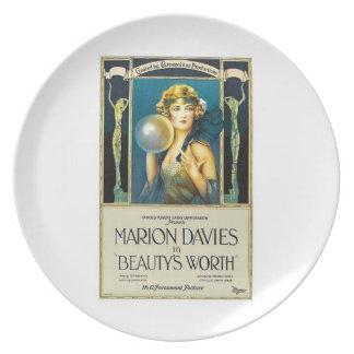 Belleza de Marion Davies digno de la película 1922 Plato De Cena