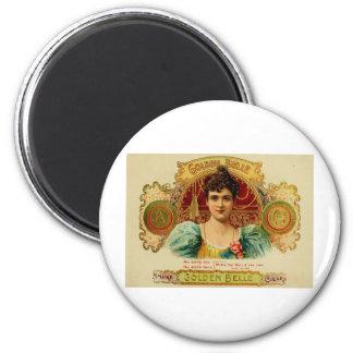 BELLEZA DE ORO de la etiqueta antigua de la caja d Imán Redondo 5 Cm