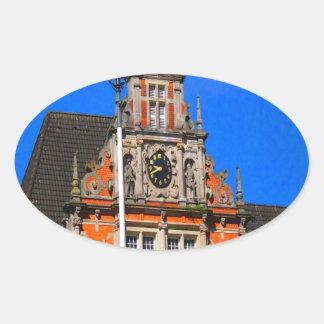 Belleza del ayuntamiento antiguo de Harburg del Pegatina Ovalada