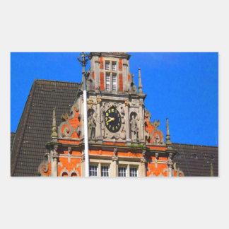 Belleza del ayuntamiento antiguo de Harburg del Pegatina Rectangular