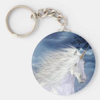 Belleza del blanco del unicornio llaveros personalizados