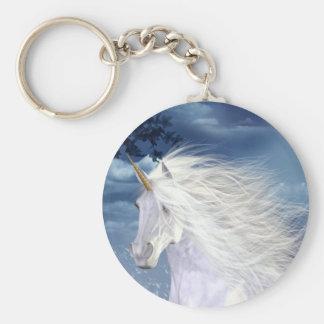 Belleza del blanco del unicornio llaveros