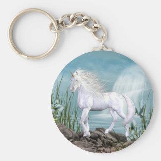 Belleza del blanco del unicornio llavero personalizado