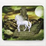 Belleza del blanco del unicornio tapetes de ratones