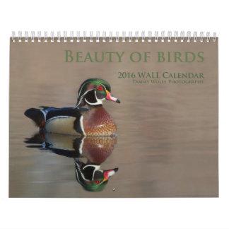 Belleza del calendario de pared de los pájaros