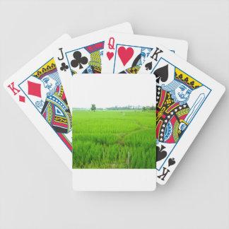 Belleza del campo de arroz verde baraja de cartas bicycle