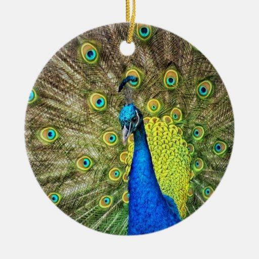 Belleza del color del pavo real adorno navideño redondo de cerámica
