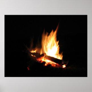 belleza del fuego del campo póster