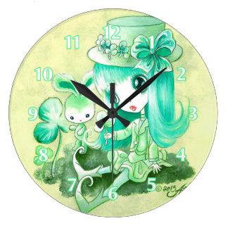 Belleza del Leprechaun Reloj Redondo Grande
