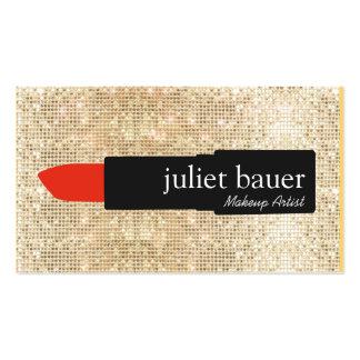 Belleza del logotipo del lápiz labial del artista tarjetas de visita