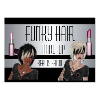 Belleza del maquillaje del pelo negro de la plata tarjetas de visita grandes