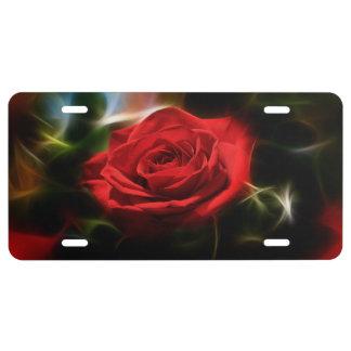 Belleza del rosa rojo placa de matrícula