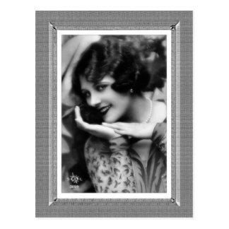 Belleza del vintage - actriz joven - en negro y postal