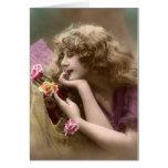 Belleza del vintage con el pelo sucio felicitación