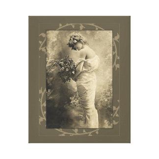 Belleza del vintage con las flores de corte impresión en lienzo