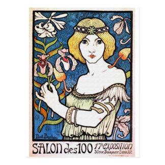 Belleza del vintage de Nouveau del arte - postal