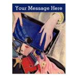 Belleza del vintage y complementos postal