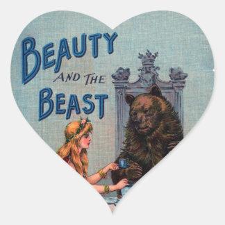 Belleza del vintage y la bestia pegatina corazón personalizadas