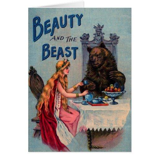 Belleza del vintage y la bestia tarjeta de felicitación