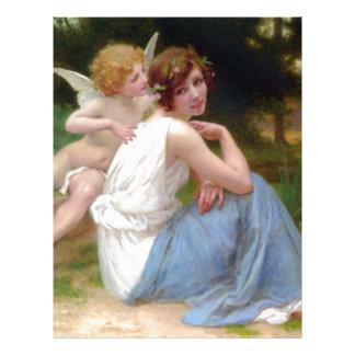 Belleza del vintage y pintura del Cupid Membretes Personalizados