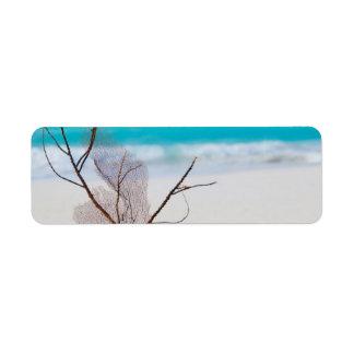 belleza el Caribe azul de la playa del playa-y-mar Etiqueta De Remite
