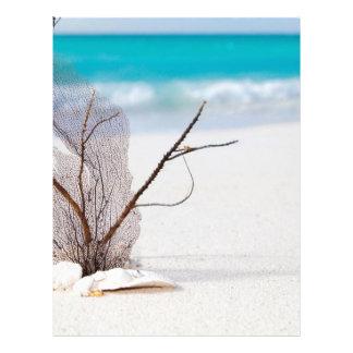 belleza el Caribe azul de la playa del playa-y-mar Membrete Personalizado