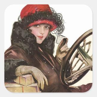 Belleza, el hacer compras de la señora navidad del calcomanía cuadradas personalizada