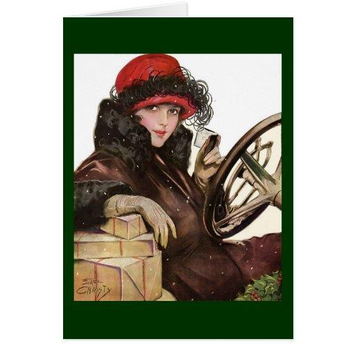 Belleza, el hacer compras de la señora navidad del tarjeta de felicitación