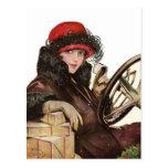 Belleza, el hacer compras de la señora navidad del tarjeta postal