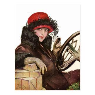 Belleza el hacer compras de la señora navidad del tarjeta postal