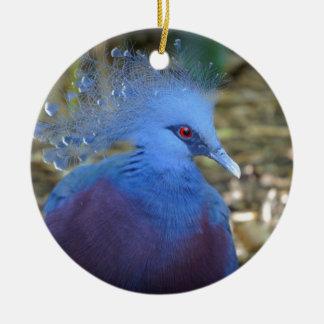 Belleza emplumada azul adorno navideño redondo de cerámica