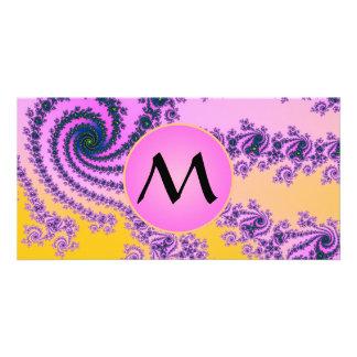 Belleza en el rosa - fractal colorido con el tarjeta con foto personalizada