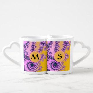 Belleza en el rosa - fractal colorido tazas para parejas