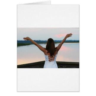 Belleza en la puesta del sol tarjeta de felicitación