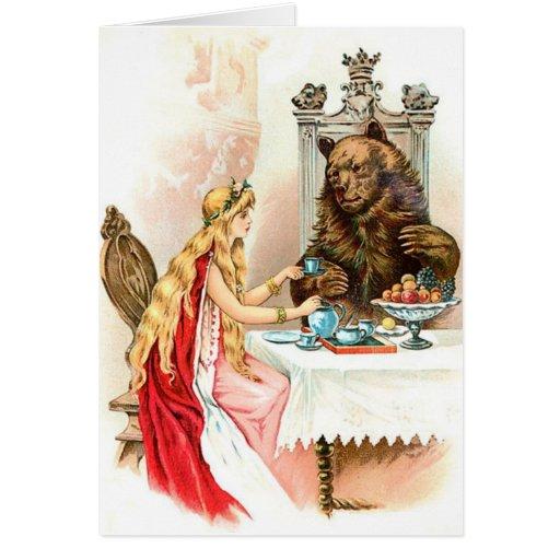 Belleza en rosa y la bestia tarjeta de felicitación