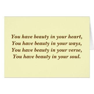 Belleza en su corazón. Poema. Personalizado poner  Tarjeta De Felicitación