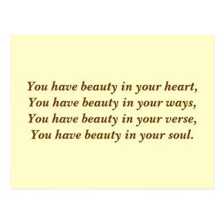 Belleza en su corazón. Poema. Personalizado poner Tarjeta Postal