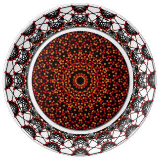 Belleza geométrica de Porcelin Plato De Cerámica